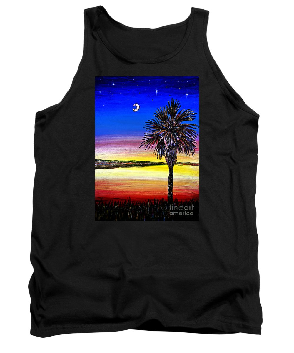 Palmetto Tree Tank Top featuring the painting Palmetto Sunset Moon And Stars by Patricia L Davidson