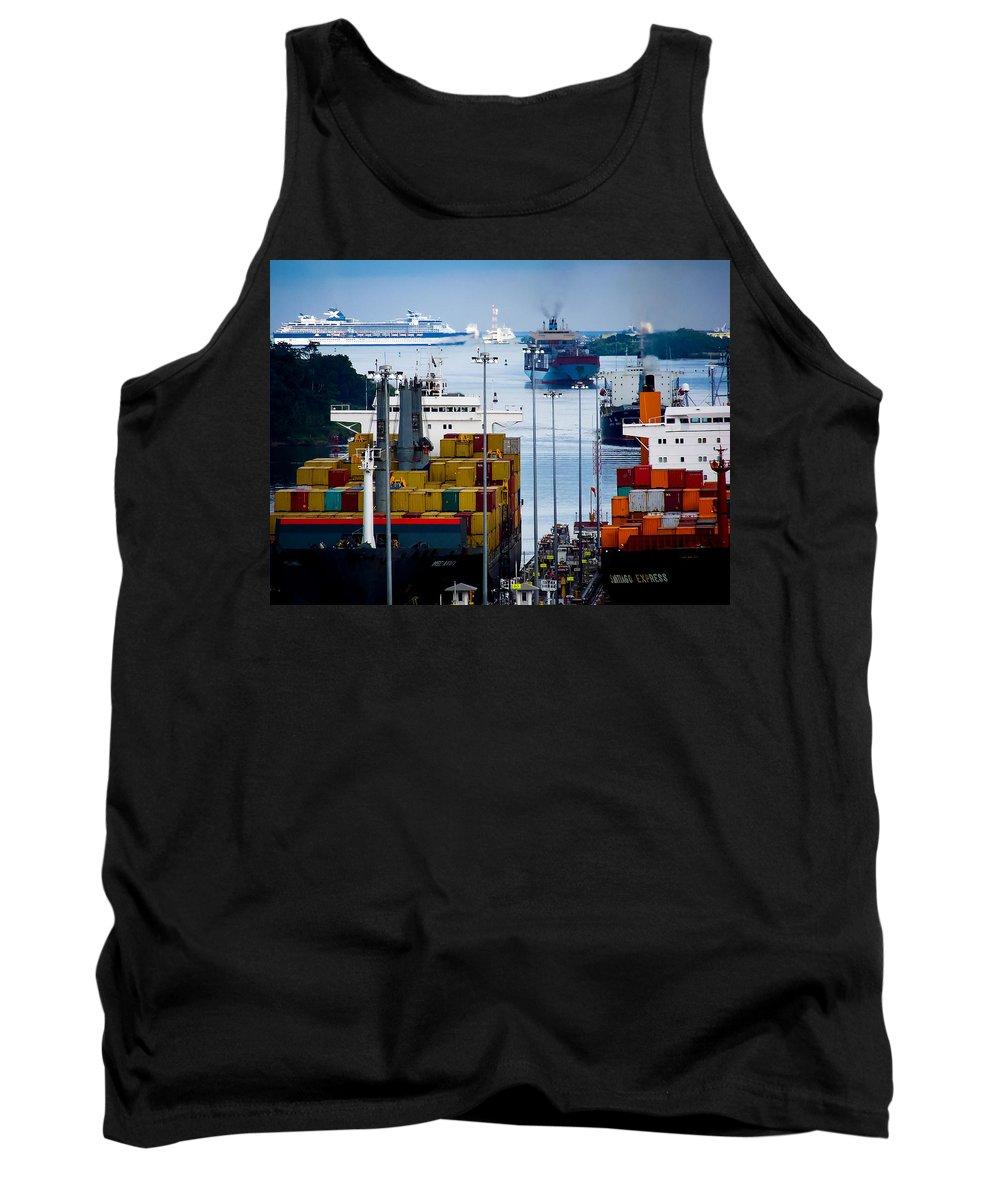 Panama Canal Tank Top featuring the photograph Panama Canal Express by Karen Wiles