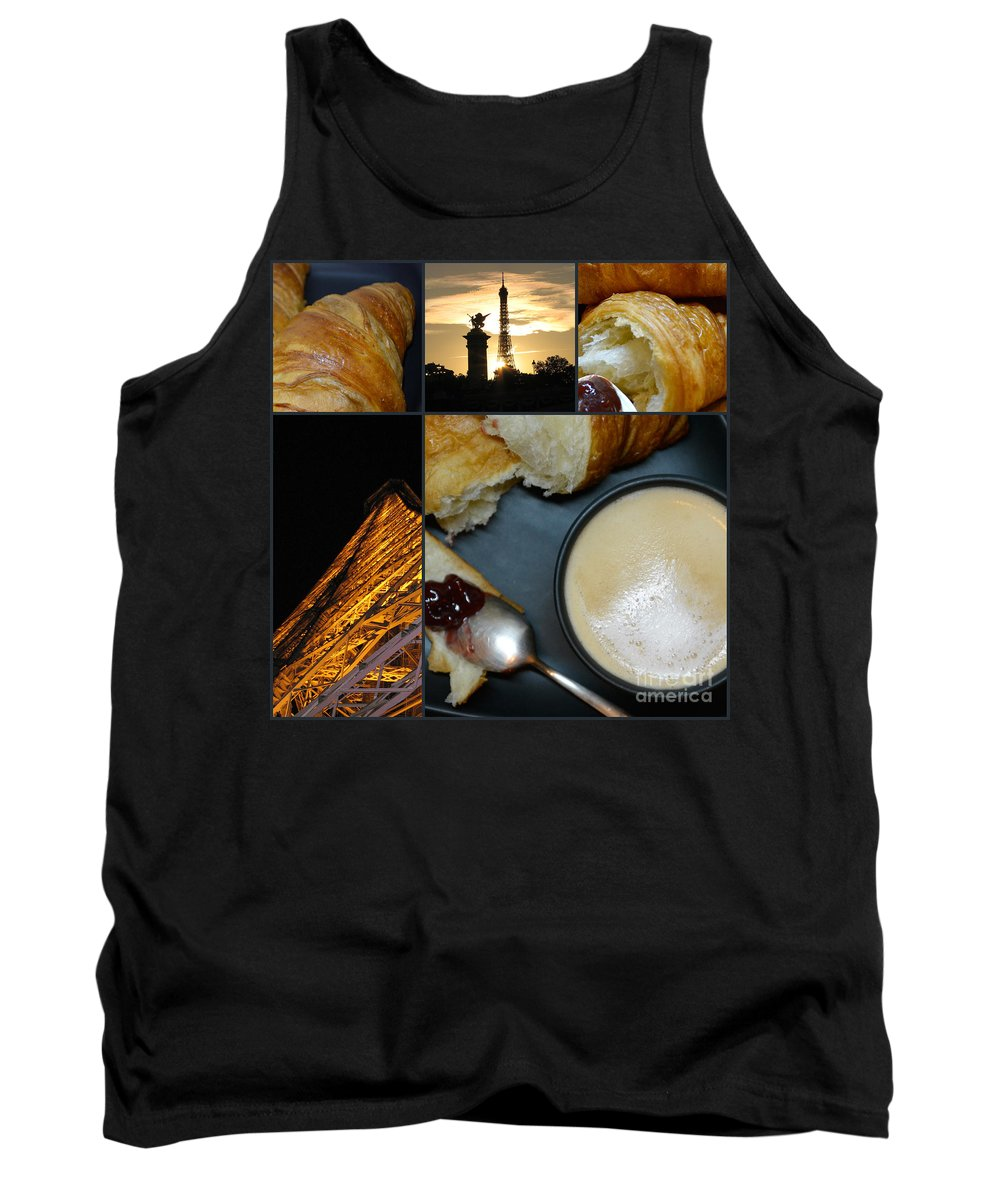 Yakubovich Tank Top featuring the photograph Paris - Morning and Evening - Parisian Breakfast and The Eiffel Tower In Lights - Elena Yakubovich by Elena Yakubovich
