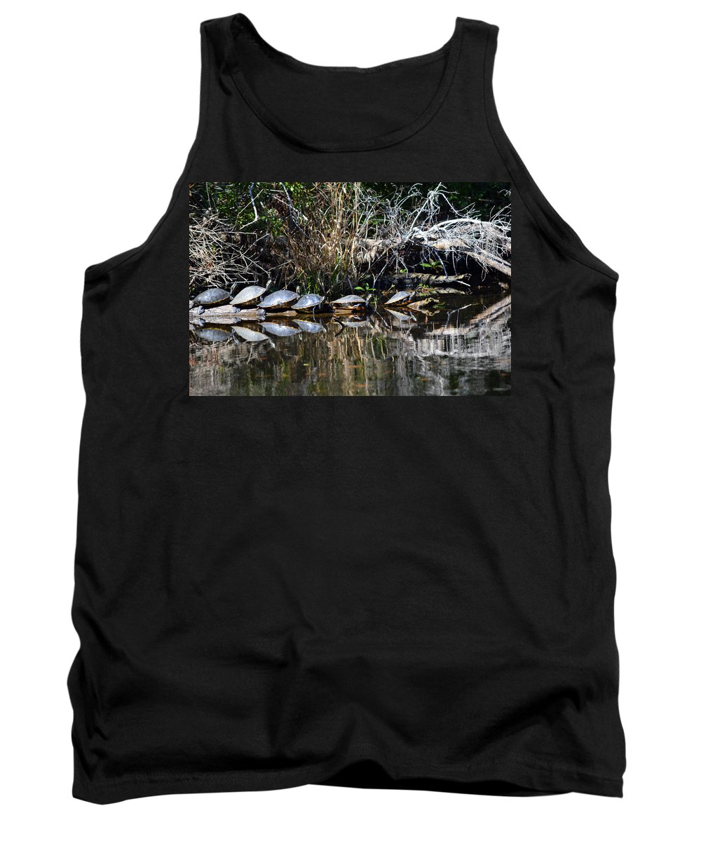 Turtle Tank Top featuring the photograph Party On A Log by Linda Kerkau