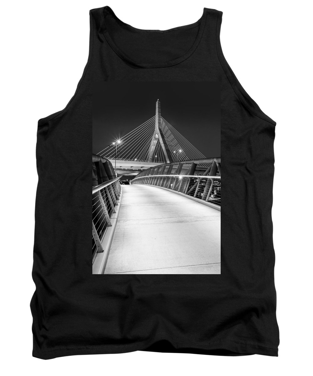 Boston Tank Top featuring the photograph Path To The Zakim Bridge Bw by Susan Candelario