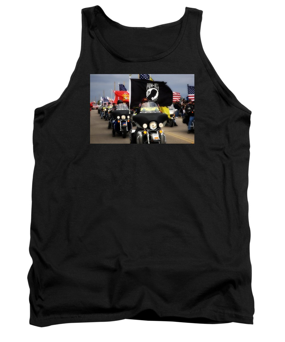 Patriot Gaurd Tank Top featuring the photograph Patriot Riders by Hugh Smith