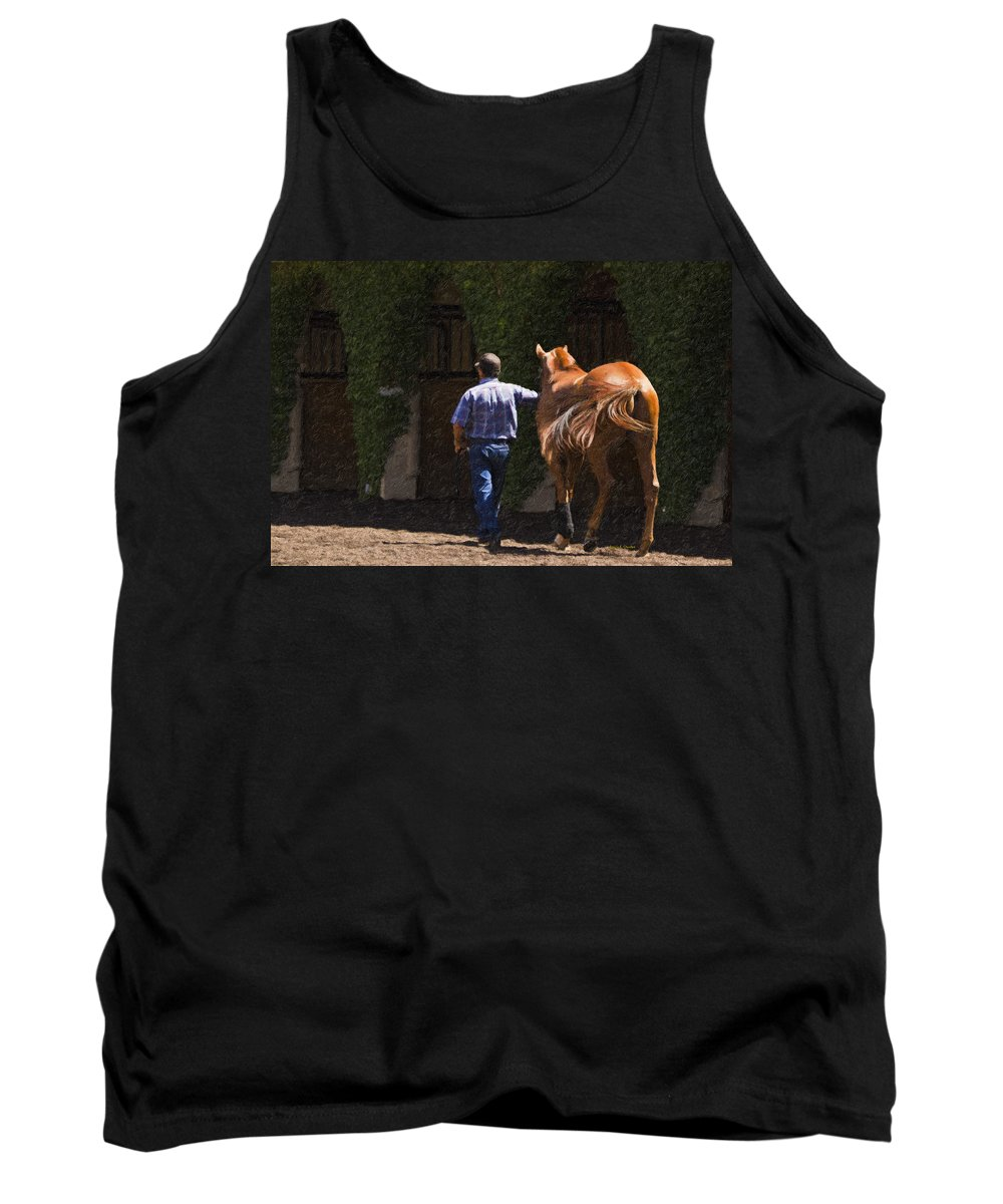 Del Mar Tank Top featuring the painting Peace Before The Race - Del Mar Horse Race by Angela Stanton
