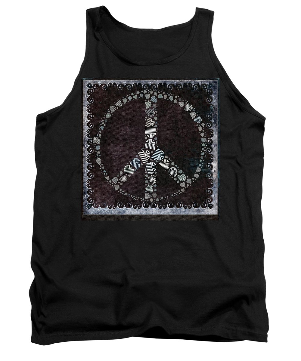 Black Tank Top featuring the digital art Peace Symbol Design - S79bt2 by Variance Collections