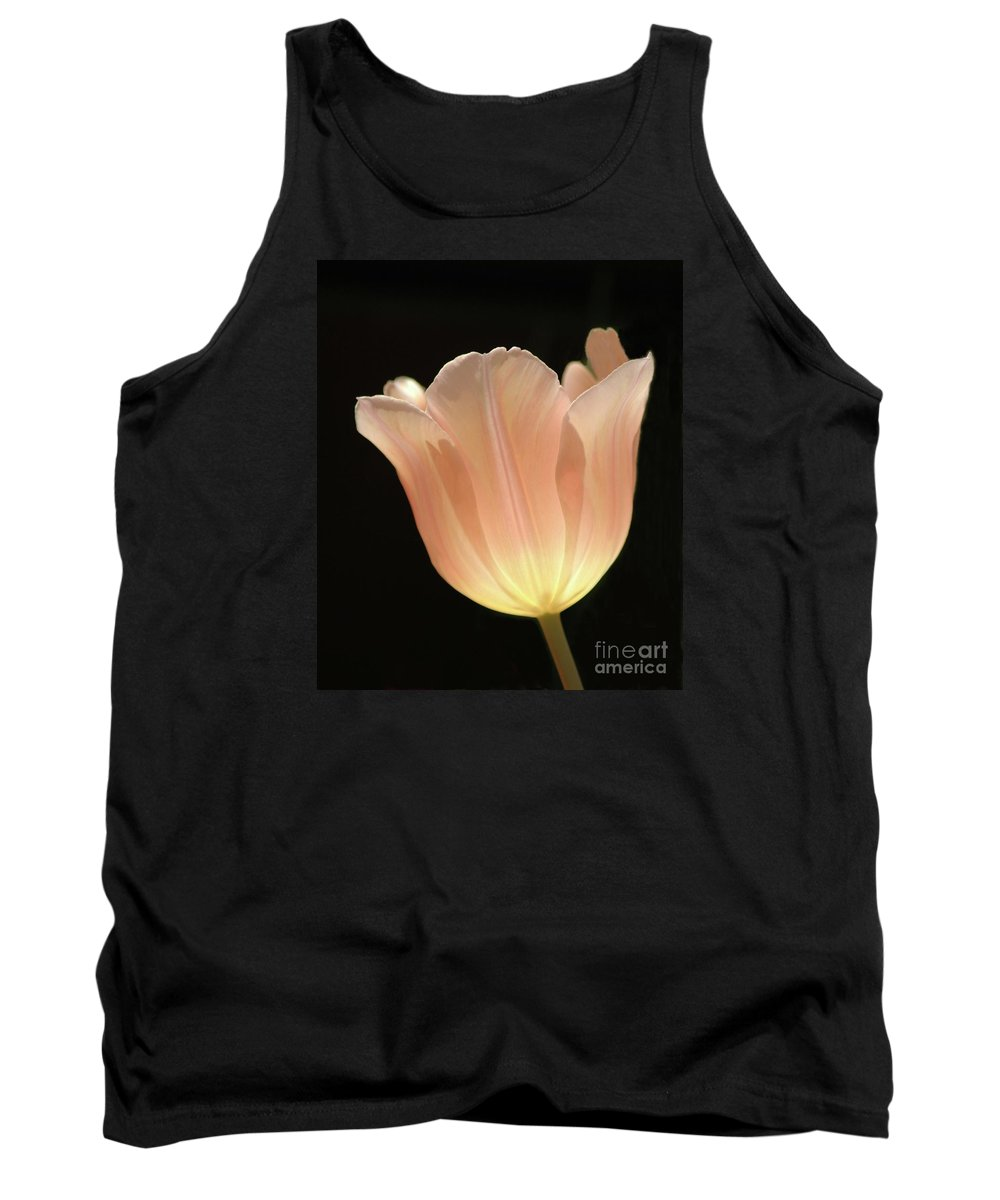 Peach #tulip #flower #floral #botanical #spring Tank Top featuring the photograph Peach Glow by Kathleen Struckle