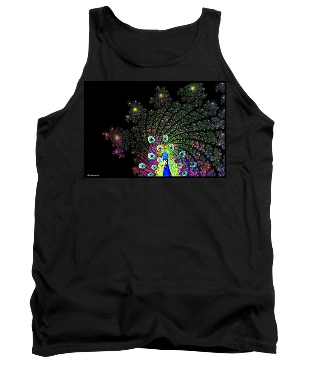 Peacock Tank Top featuring the photograph Peacock Explosion Display by Ellen Cannon