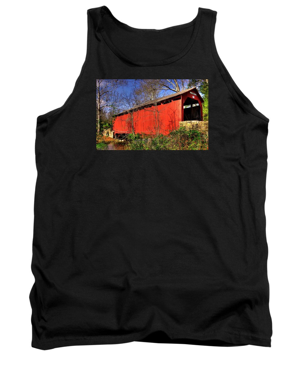 Wagoners Covered Bridge Tank Top featuring the photograph Pennsylvania Country Roads - Wagoners Covered Bridge Over Bixlers Run - Perry County by Michael Mazaika