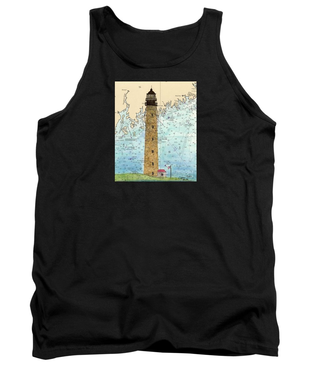 Petit Tank Top featuring the painting Petit Manan Island Lighthouse Me Nautical Chart Map Art by Cathy Peek