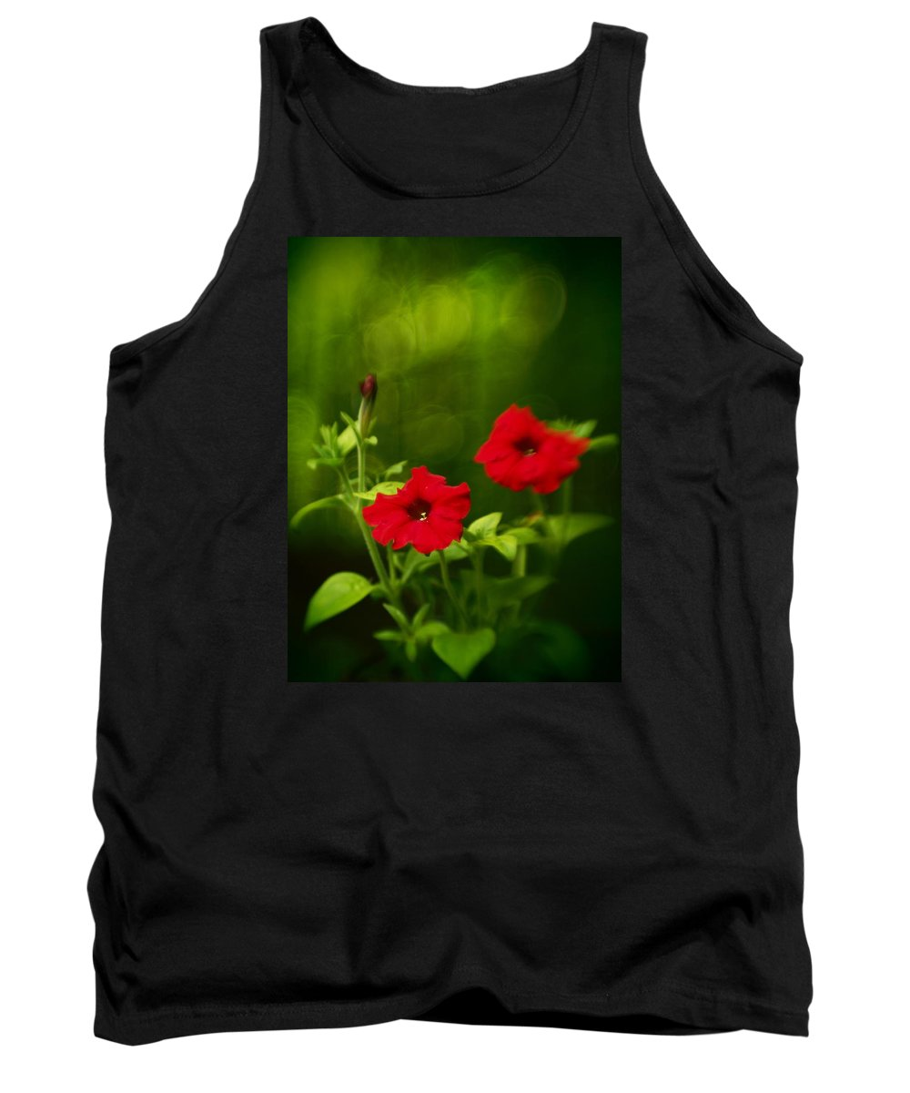 Flowers Tank Top featuring the photograph Petunia Dreams In The Woods by Dorothy Lee