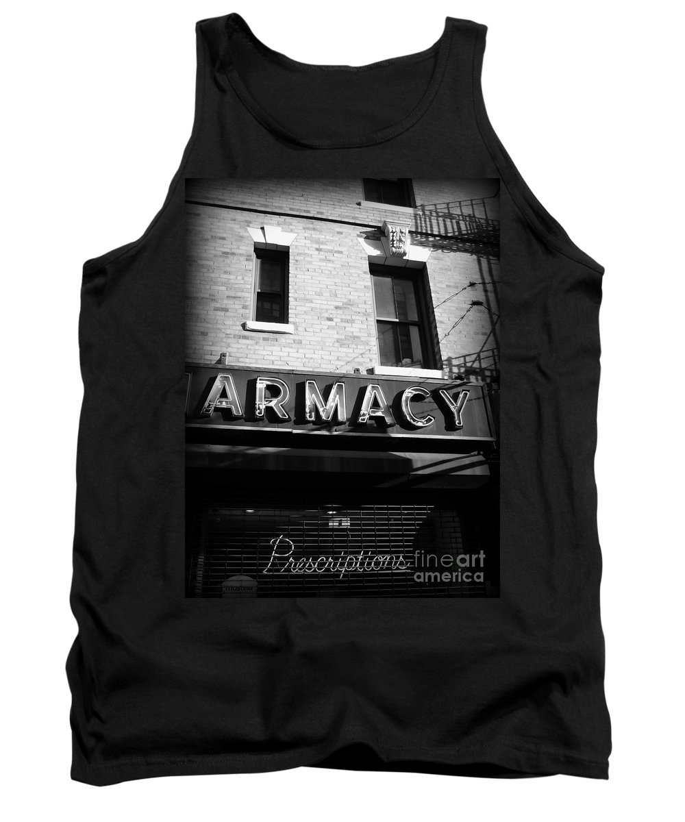 Pharmacy Tank Top featuring the photograph Pharmacy - Storefronts Of New York by Miriam Danar