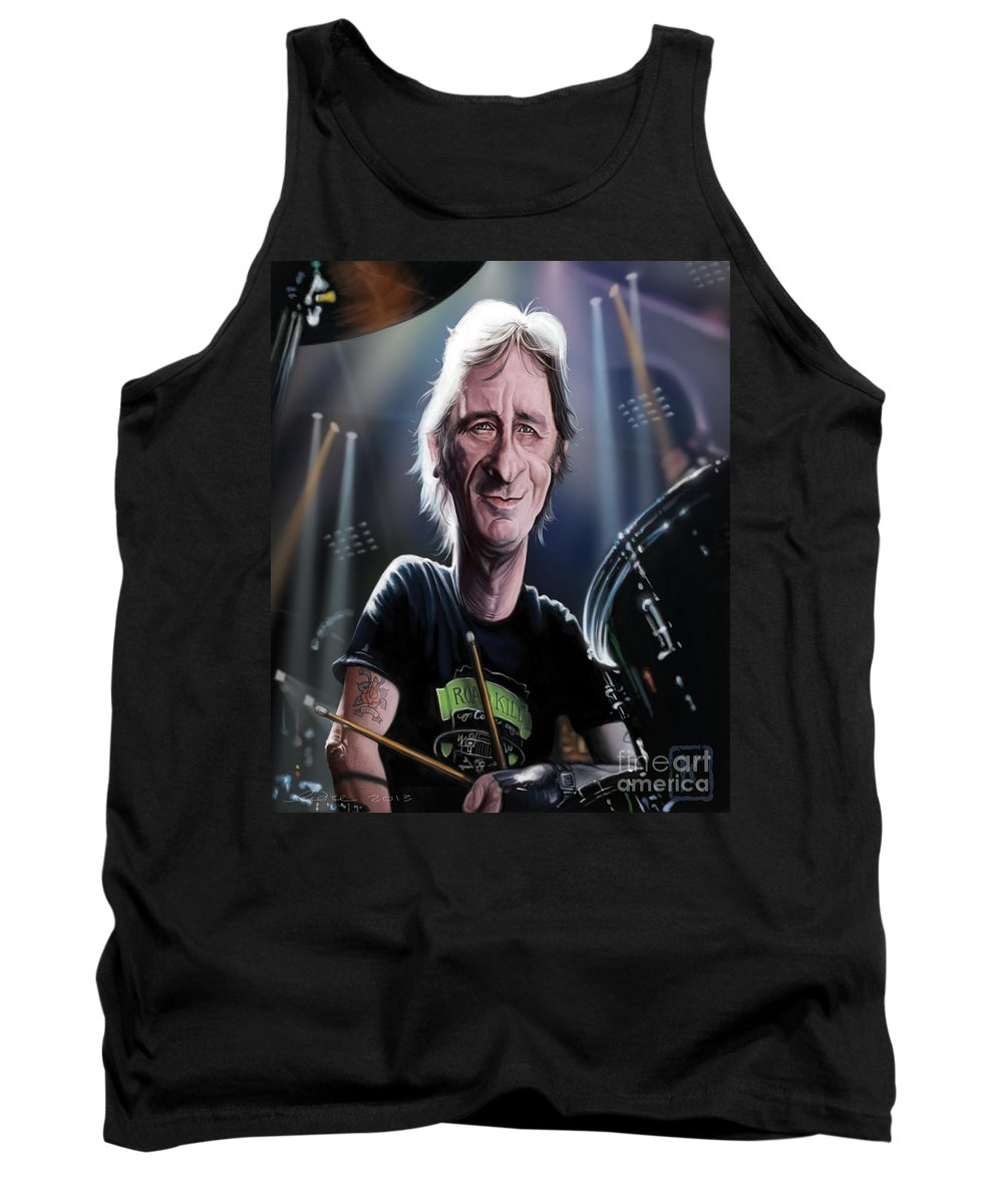 Phil Rudd Tank Top featuring the digital art Phil Rudd by Andre Koekemoer