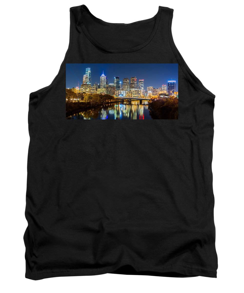 America Tank Top featuring the photograph Philadelphia Cityscape Panorama By Night by Mihai Andritoiu