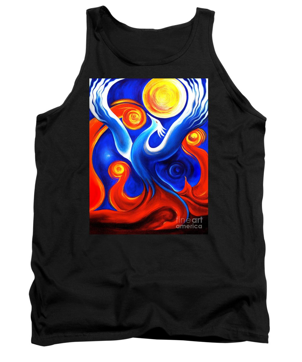 Phoenix Tank Top featuring the painting Phoenix Rising by Gem S Visionary