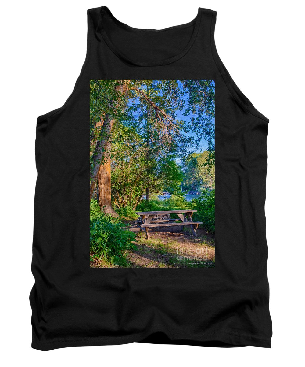 2014 Tank Top featuring the digital art Picnic By The Methow River by Omaste Witkowski