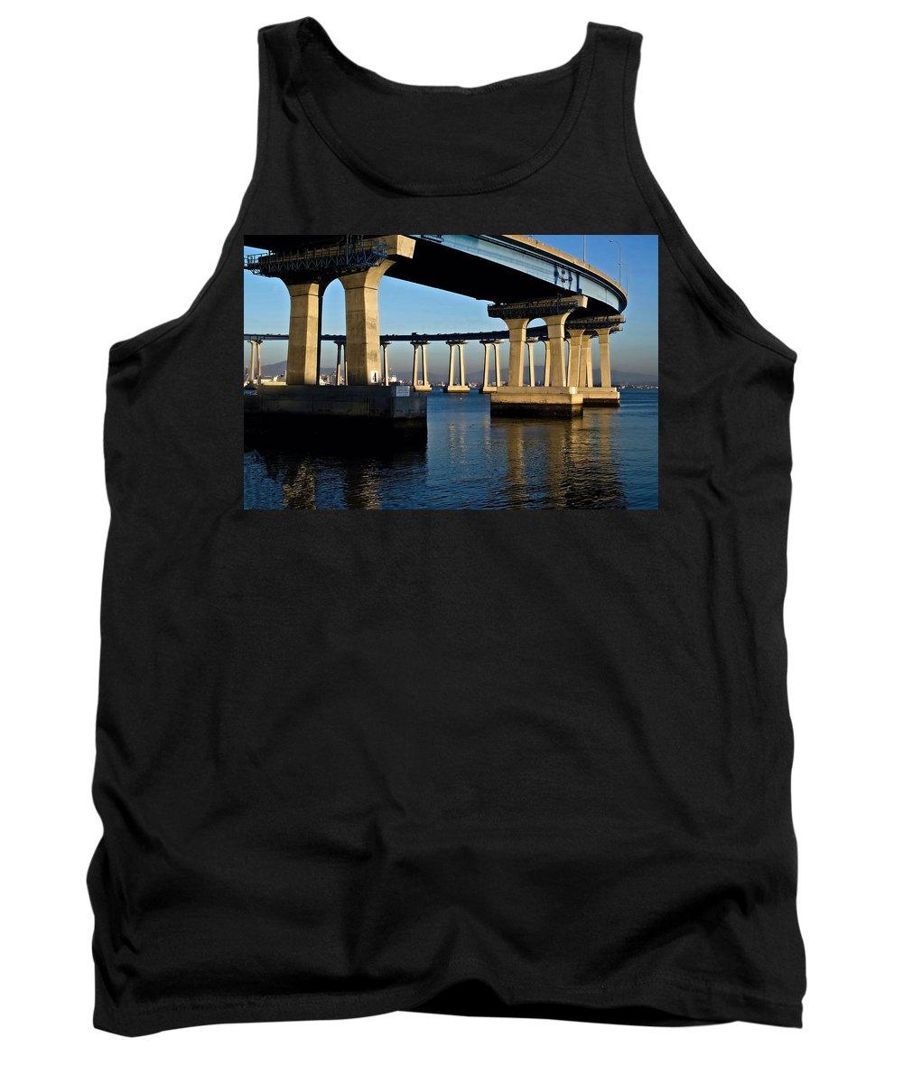 Pier 4- Coronado Bridge Tank Top featuring the photograph Pier 4- Coronado Bridge by See My Photos