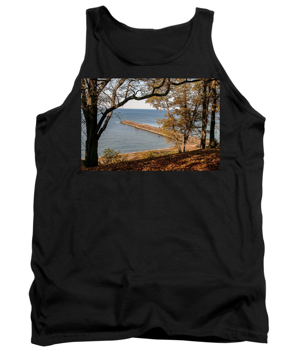 Fall Tank Top featuring the photograph Pier In The Fall by Lou Cardinale