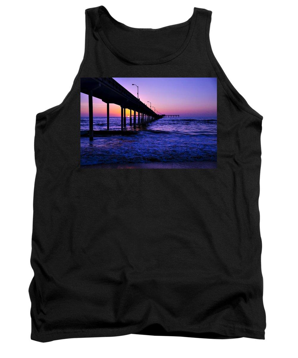Sunset Ocean Beach Pier Tank Top featuring the photograph Pier Sunset Ocean Beach by Garry Gay