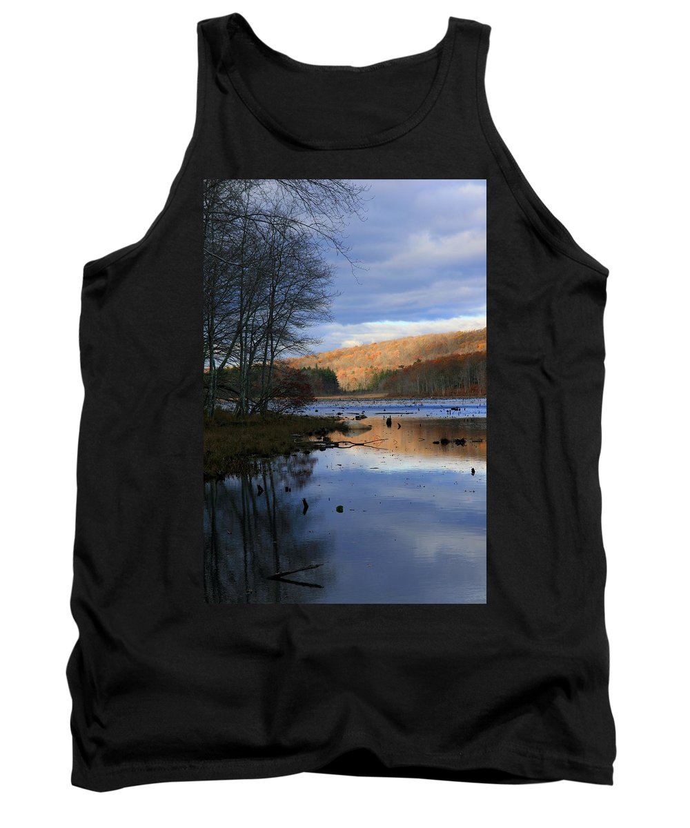 Lake Tank Top featuring the photograph Pine Acres Lake Reflections by Neal Eslinger