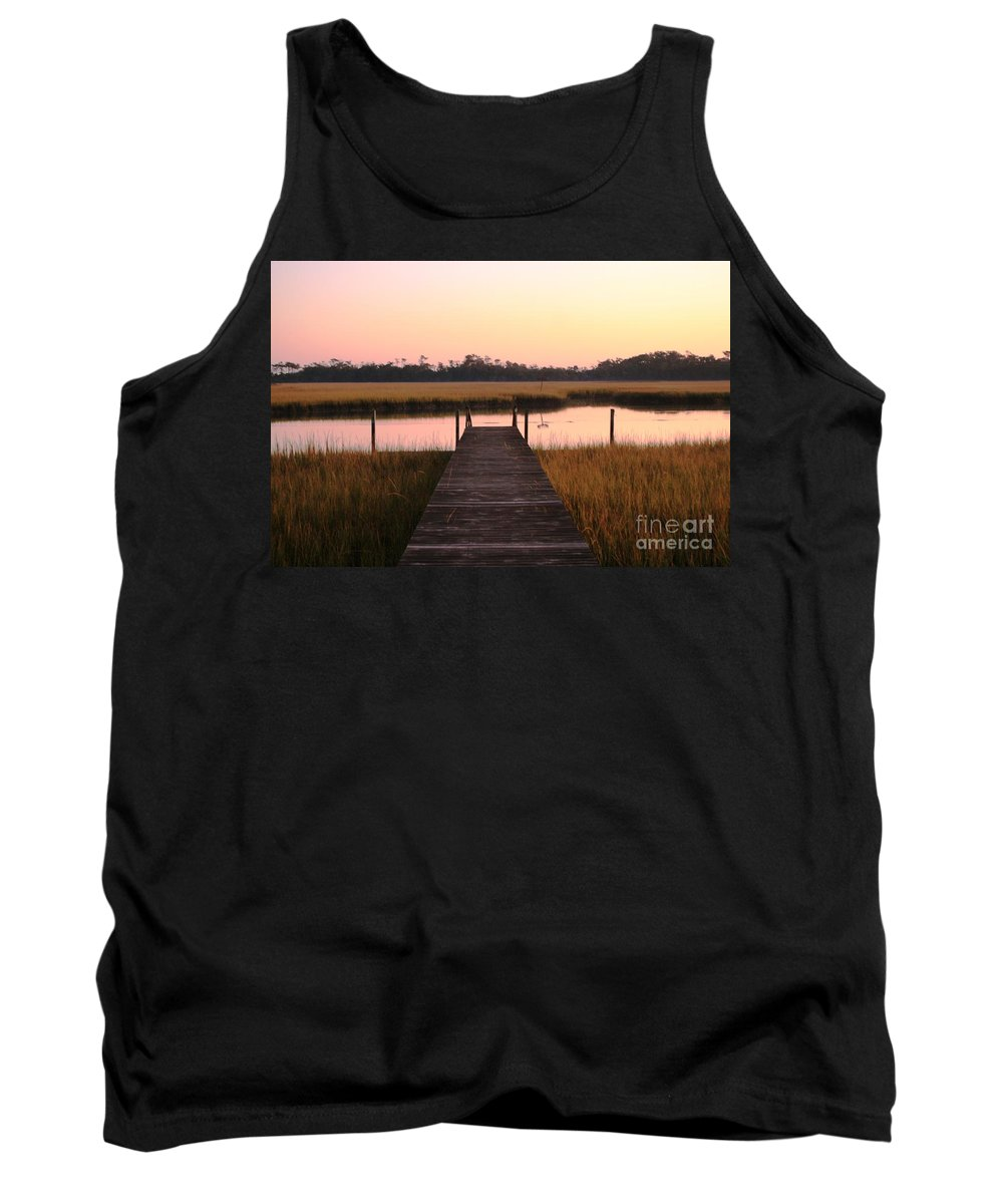 Pink Tank Top featuring the photograph Pink And Orange Morning On The Marsh by Nadine Rippelmeyer