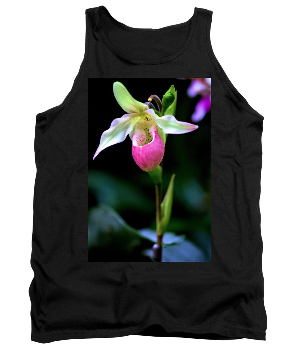 Carol R Montoya Tank Top featuring the photograph Pink Lady's Slipper by Carol Montoya
