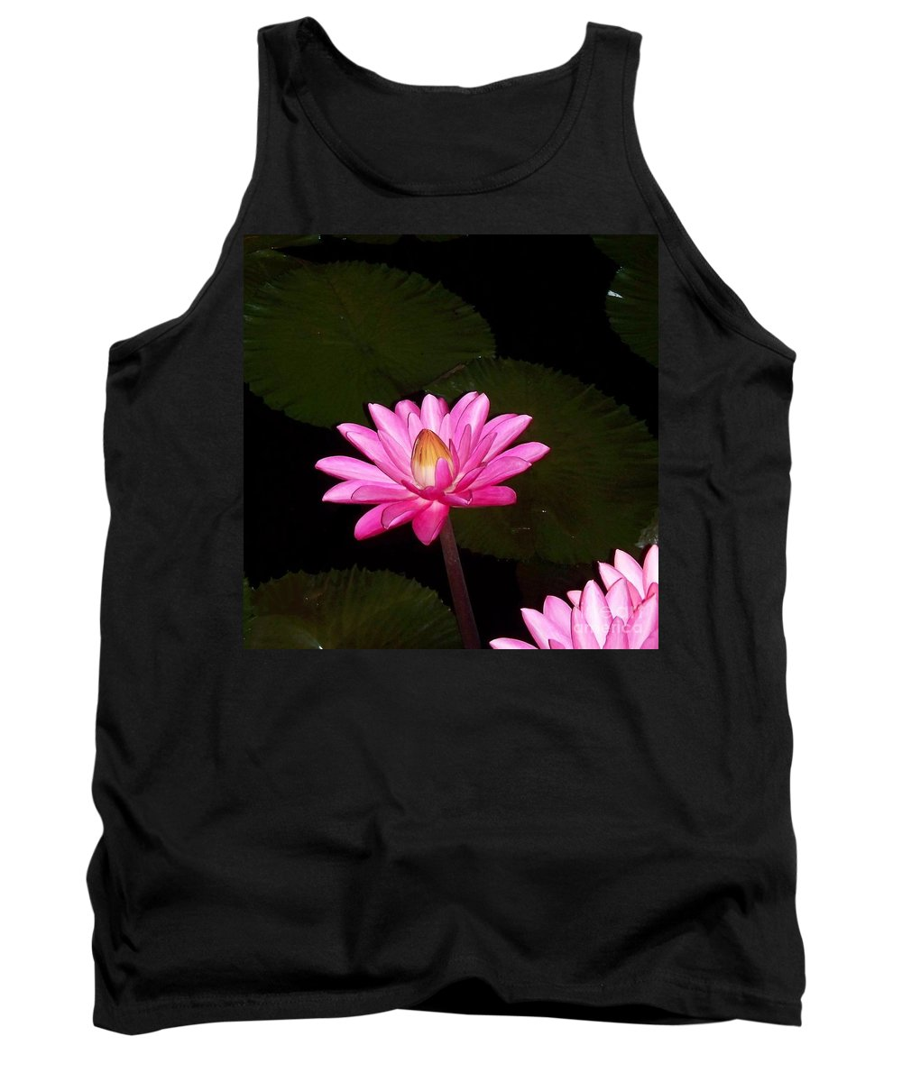 Pink Lilies Tank Top featuring the photograph Pink Lilies And Pads by Eric Schiabor