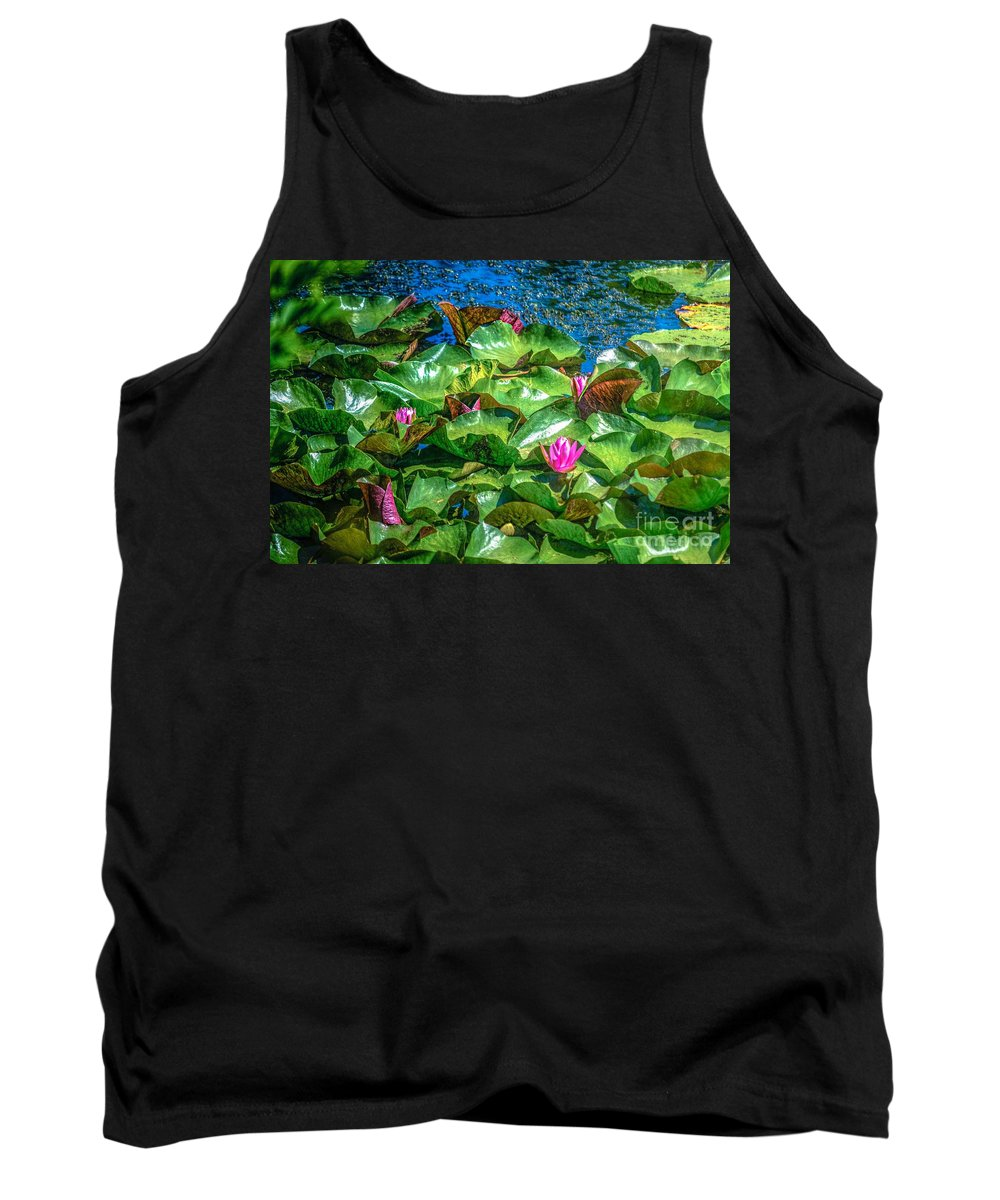 Lilly Flowers Tank Top featuring the photograph Pink Lilly Flowers And Pads by Peggy Franz