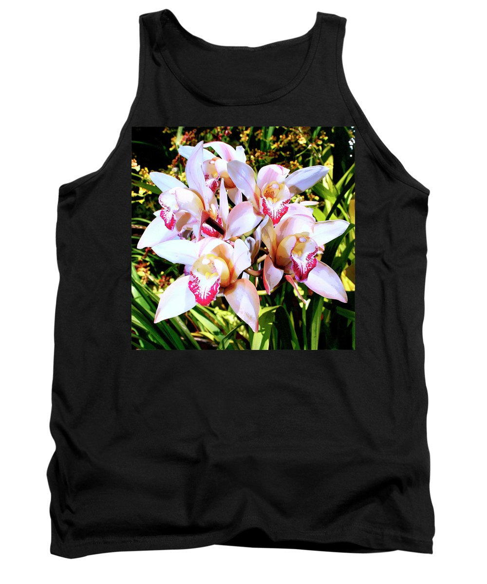 Orchid Tank Top featuring the photograph Pink Spirit Orchids Palm Springs by William Dey