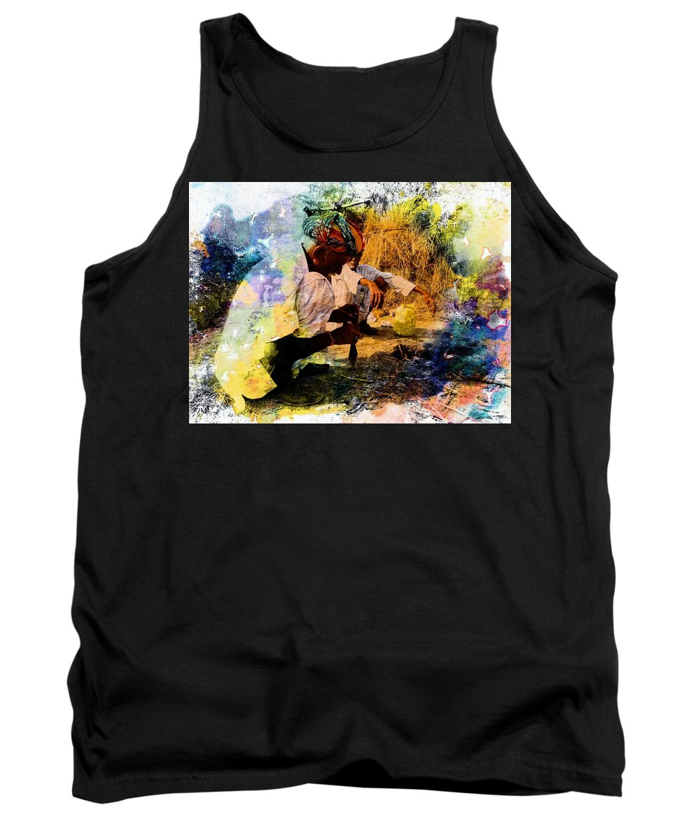 Pipe Tank Top featuring the photograph Pipe Smoking Ritual Chillum India Rajasthan 1 by Sue Jacobi