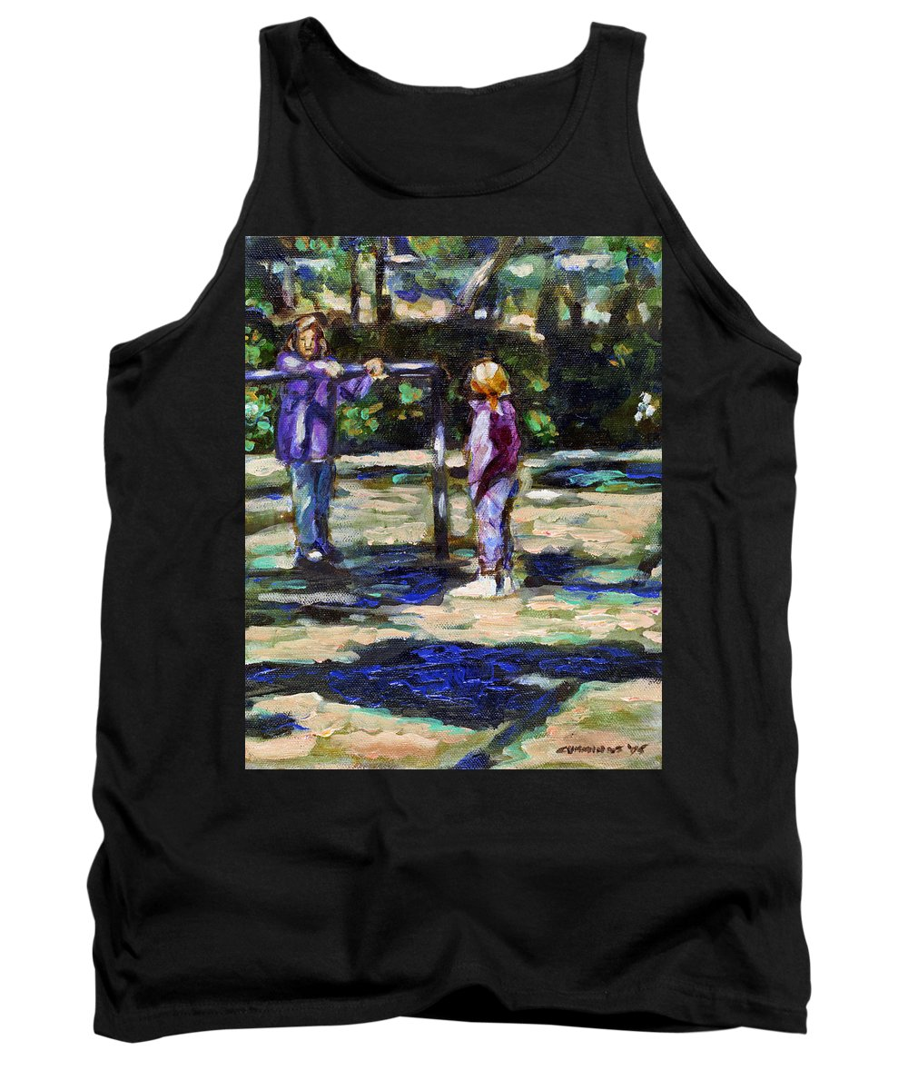 Children Playground Kids Childhood Girls Sisters Girlfriends Park People Families Figures Trees Tree Water Nature Natural Park Parks Environments Recreation Play Youth Recreation Outdoor Parks Tank Top featuring the painting Playground by Faye Cummings