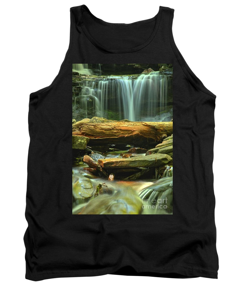 Ricketts Glen Waterfalls Tank Top featuring the photograph Poconos Cascades by Adam Jewell