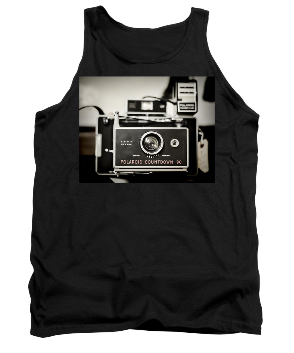 Camera Tank Top featuring the photograph Polaroid Countdown 90 by Heather Applegate