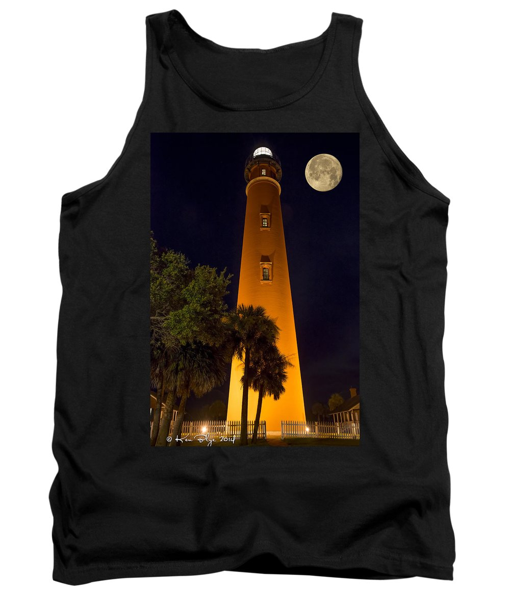 Full Moon Tank Top featuring the photograph Ponce Inlet Lighthouse And Moon by Kenneth Blye