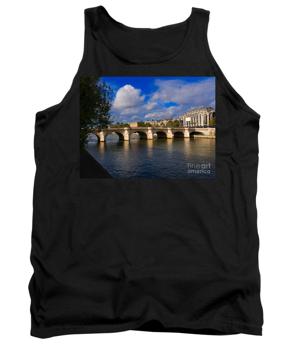 Pont Neuf Tank Top featuring the photograph Pont Neuf Over The Seine River Paris by Louise Heusinkveld