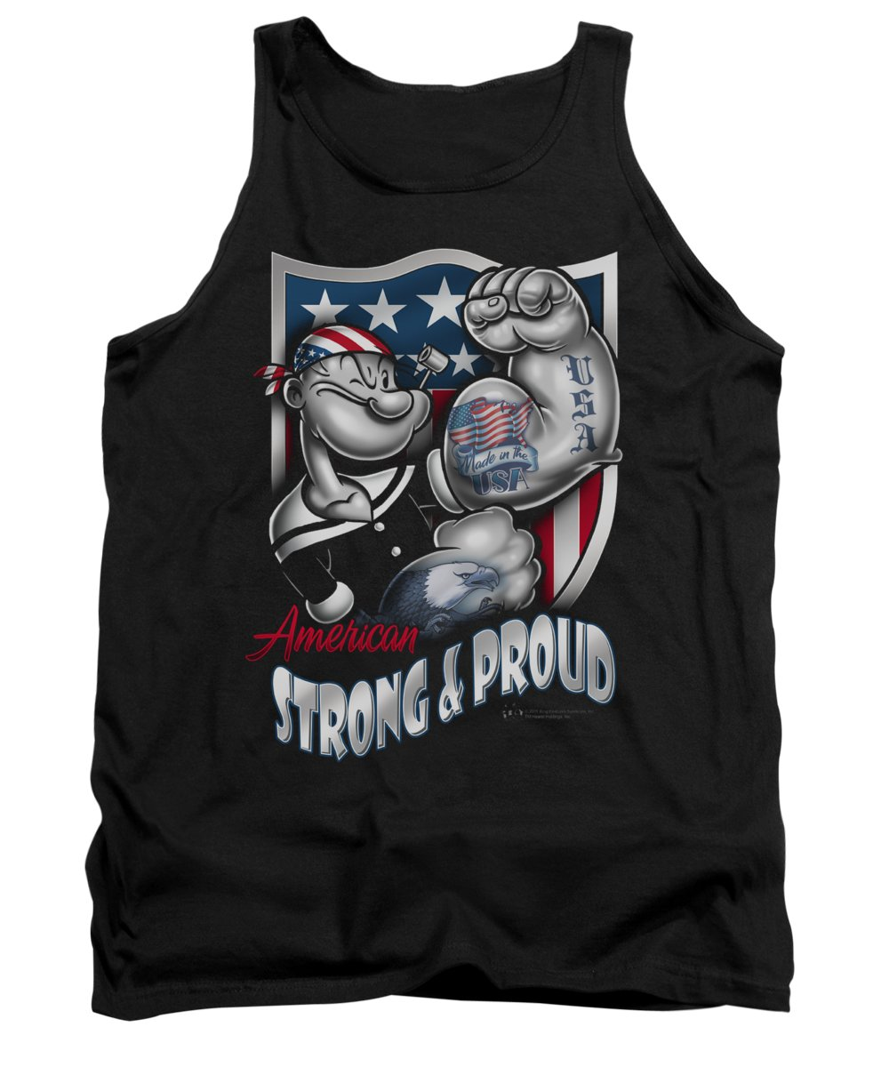 Popeye Tank Top featuring the digital art Popeye - Strong And Proud by Brand A