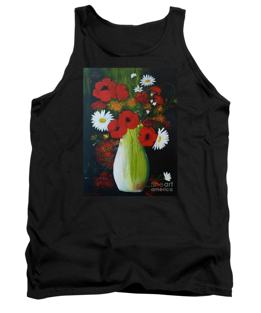 Poppies Tank Top featuring the painting Poppies And Daisies by Alicia Fowler