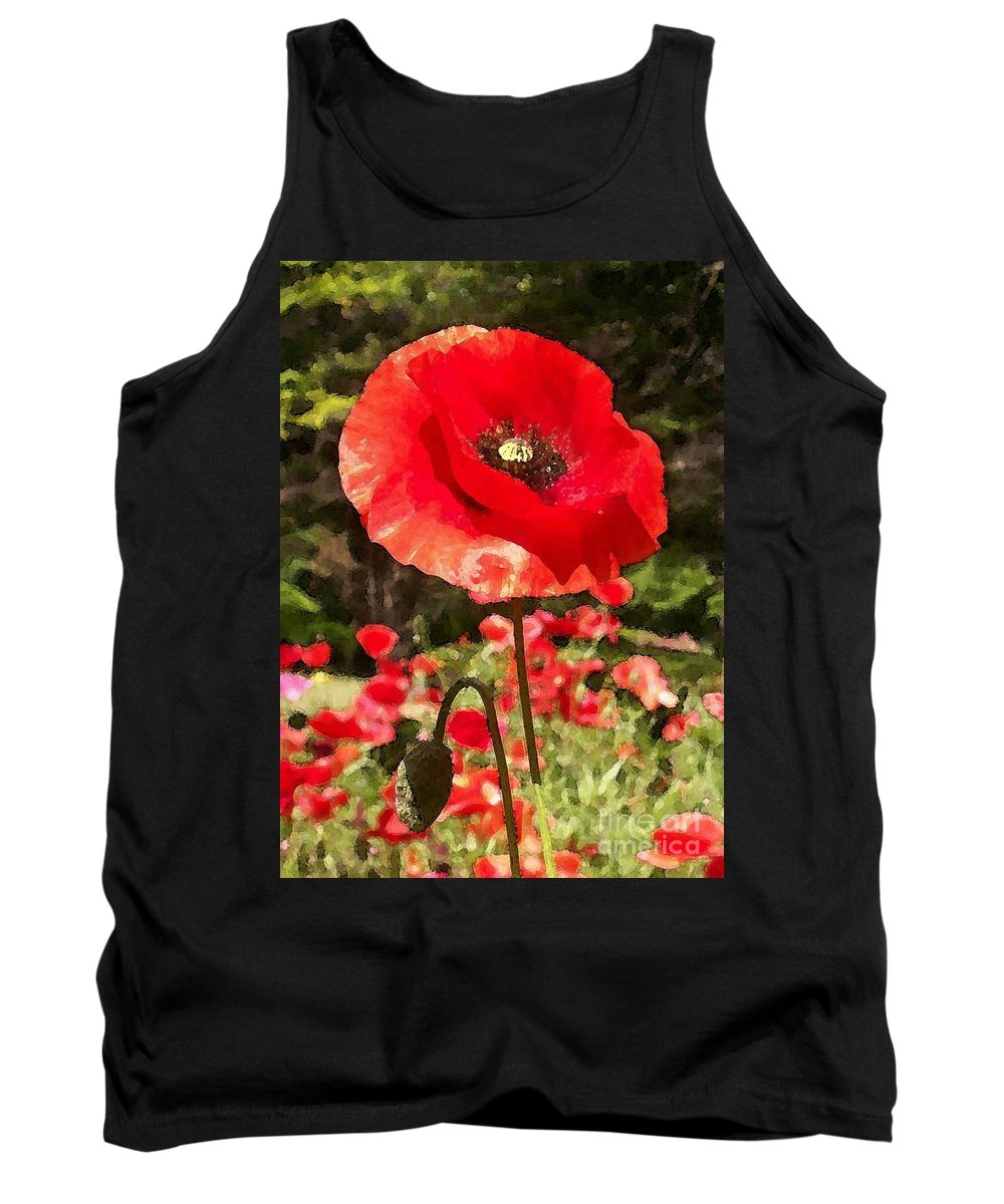 Poppy Tank Top featuring the photograph Poppy Watercolor Effect by Laurie Eve Loftin