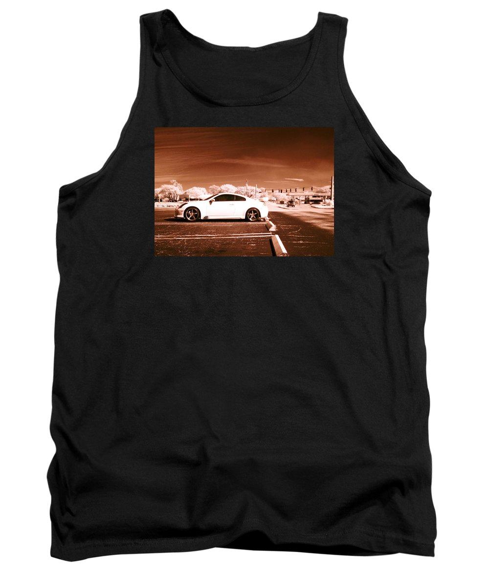 America Tank Top featuring the photograph Porsche Car Side Profile Brown Near Infrared by Sally Rockefeller