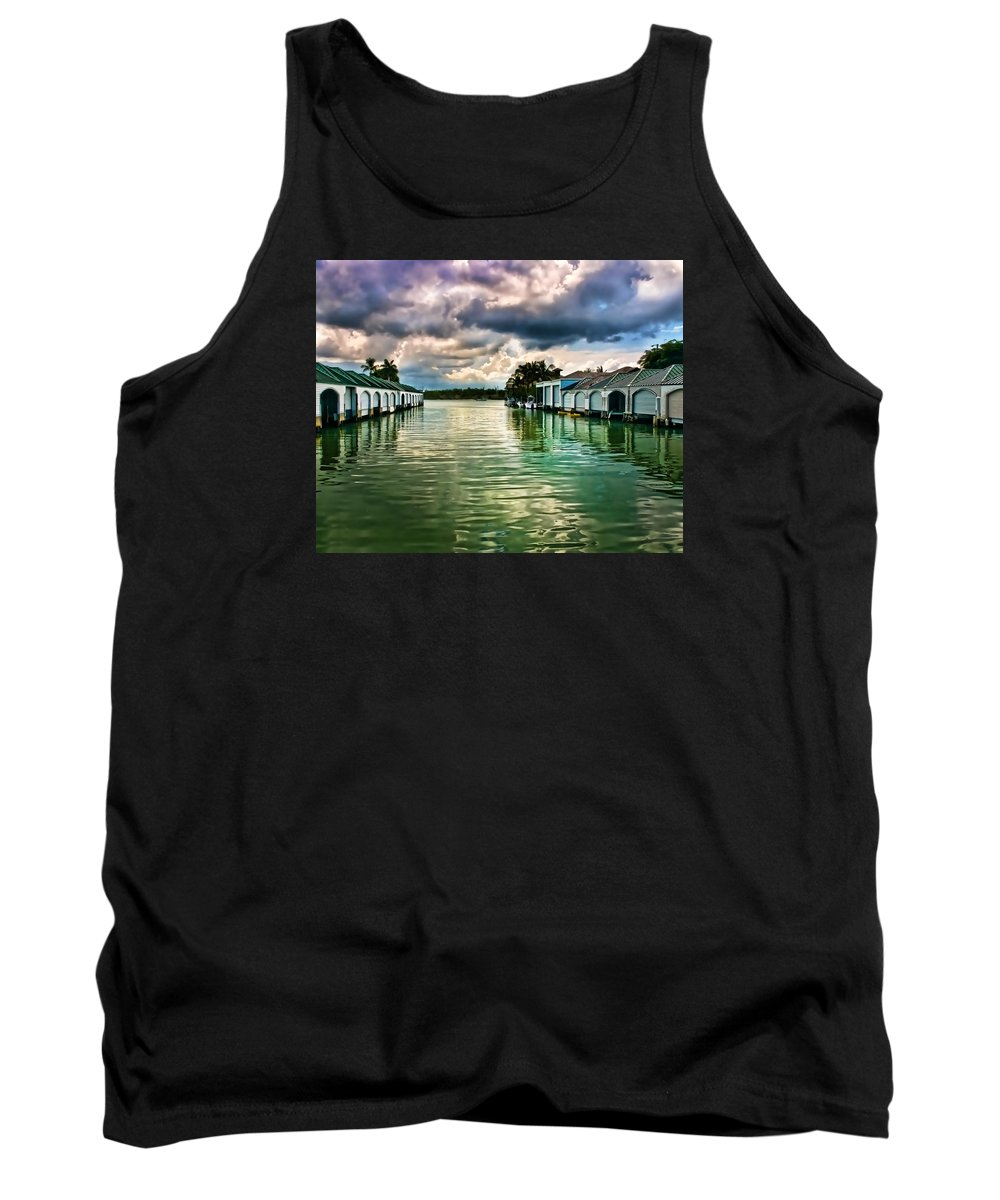 Port Royal Naples Florida Waterfront Tank Top featuring the photograph Storm Clouds Over Port Royal Boathouses In Naples by Ginger Wakem