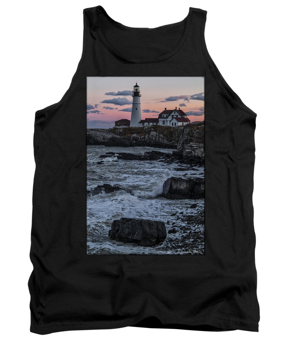 Water Tank Top featuring the photograph Portland Head Lighthouse Sunset by Erika Fawcett