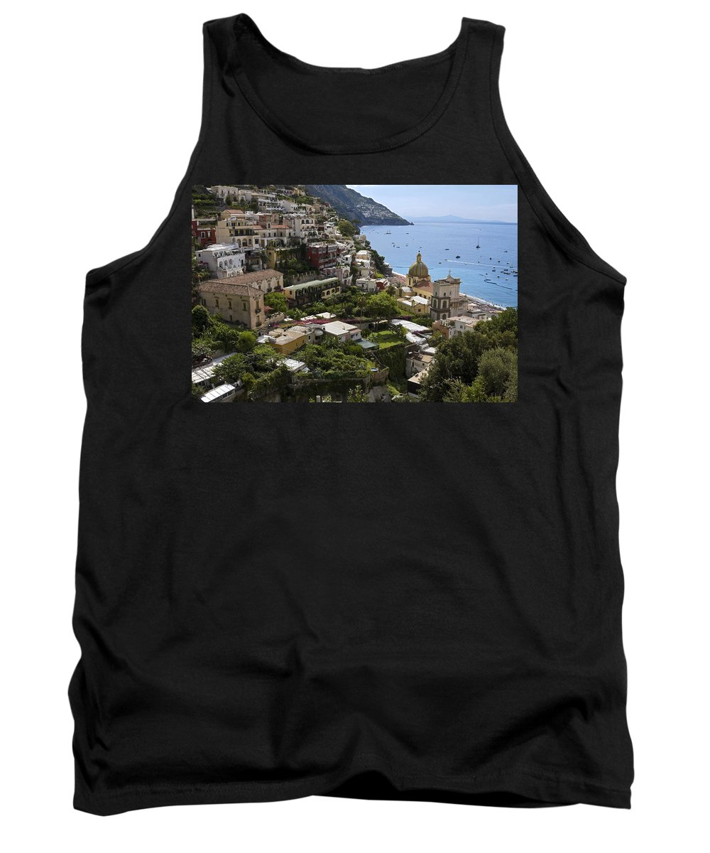 Town Built On Steep Cliff Tank Top featuring the photograph Positano Overview by Sally Weigand
