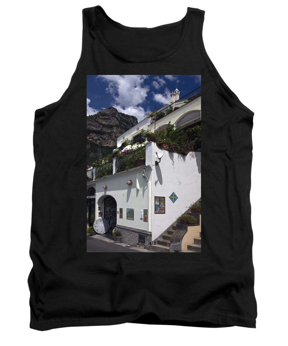 White Building Tank Top featuring the photograph Positano Shop by Sally Weigand