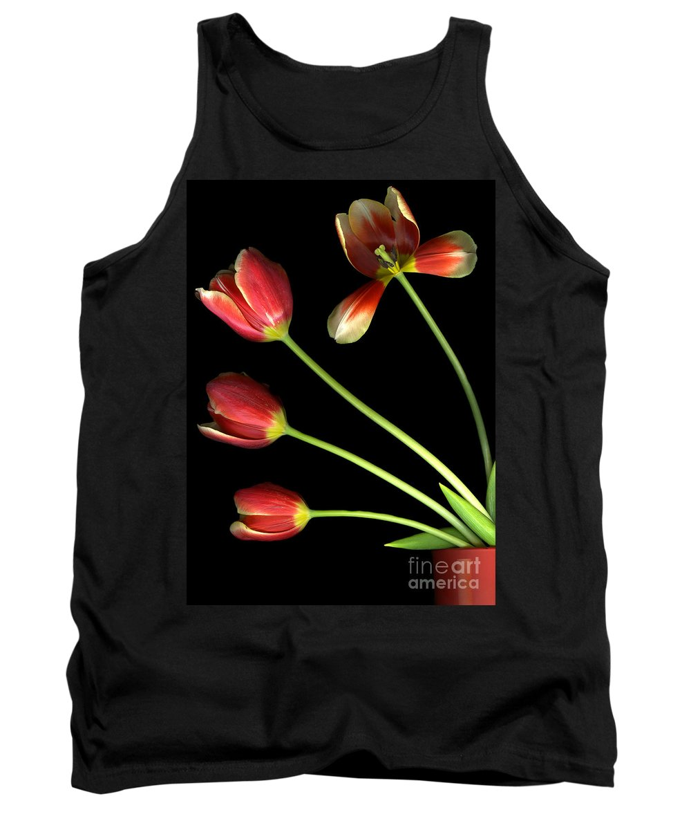 Scanography Tank Top featuring the photograph Pot Of Tulips by Christian Slanec
