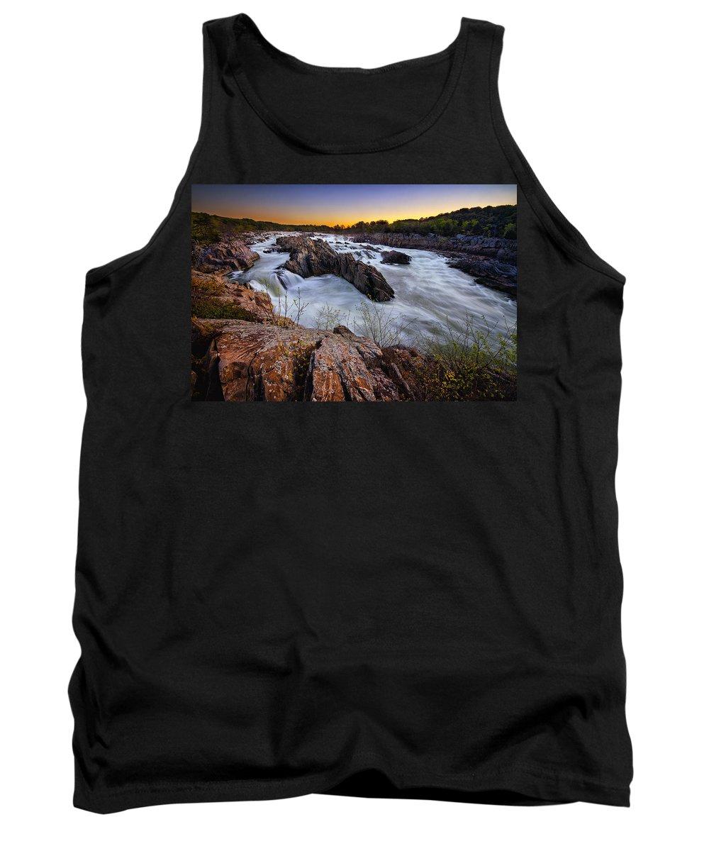 Dawn Tank Top featuring the photograph Potomac Rush by Neil Shapiro