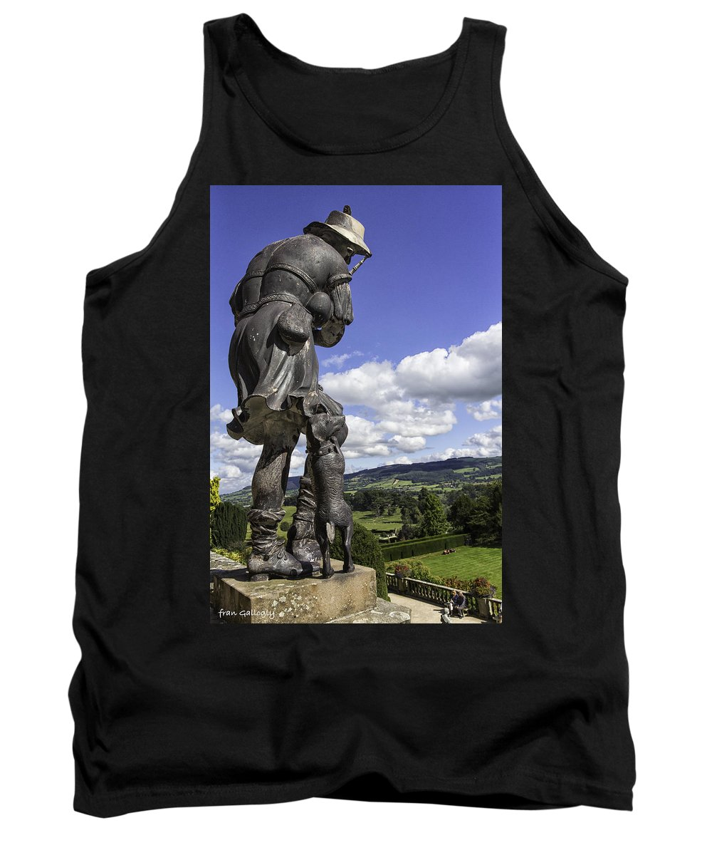 Statue Tank Top featuring the photograph Powis Castle Bagpipper by Fran Gallogly