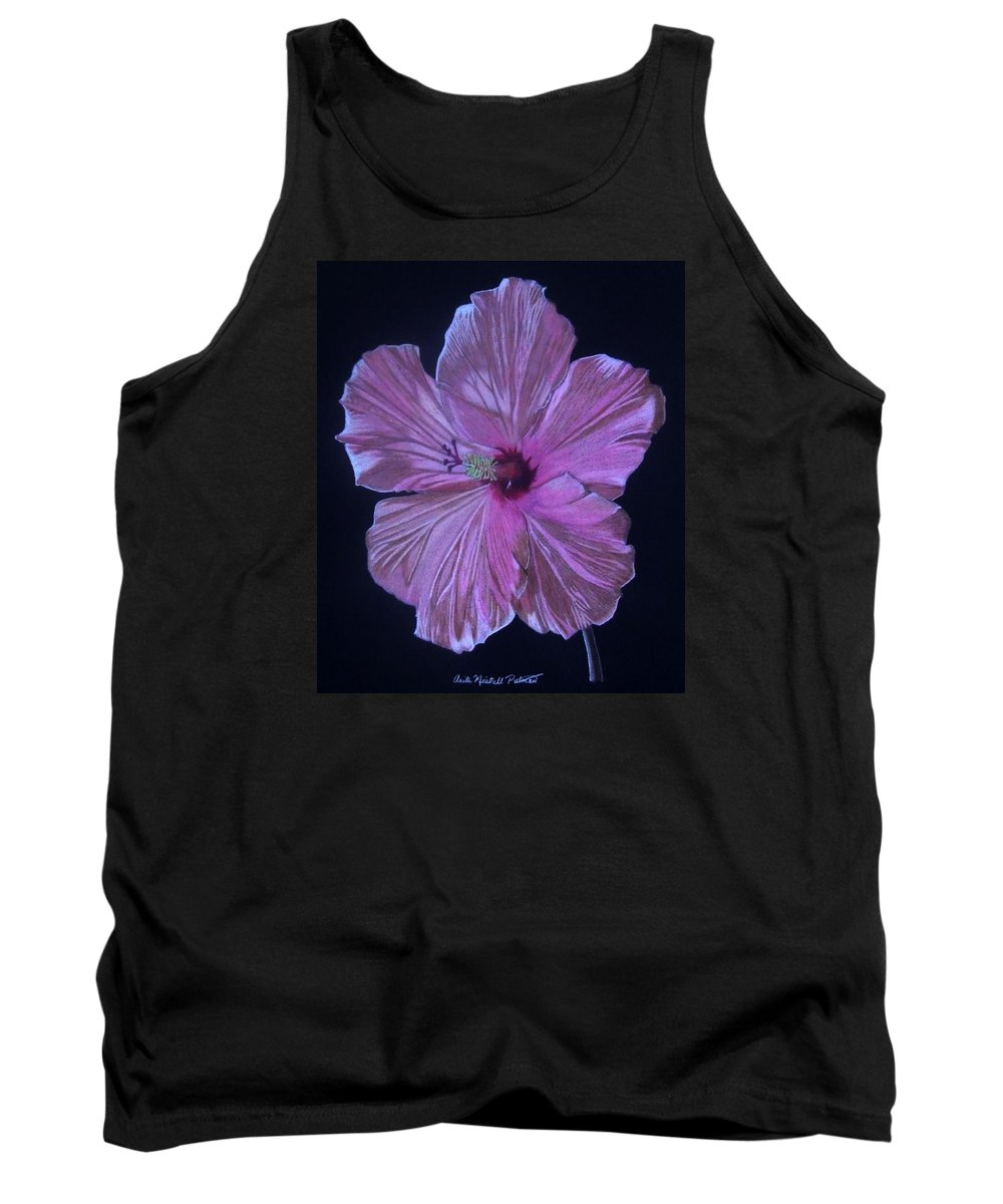 Hibiscus Tank Top featuring the drawing Pretty In Pink by Anita Putman