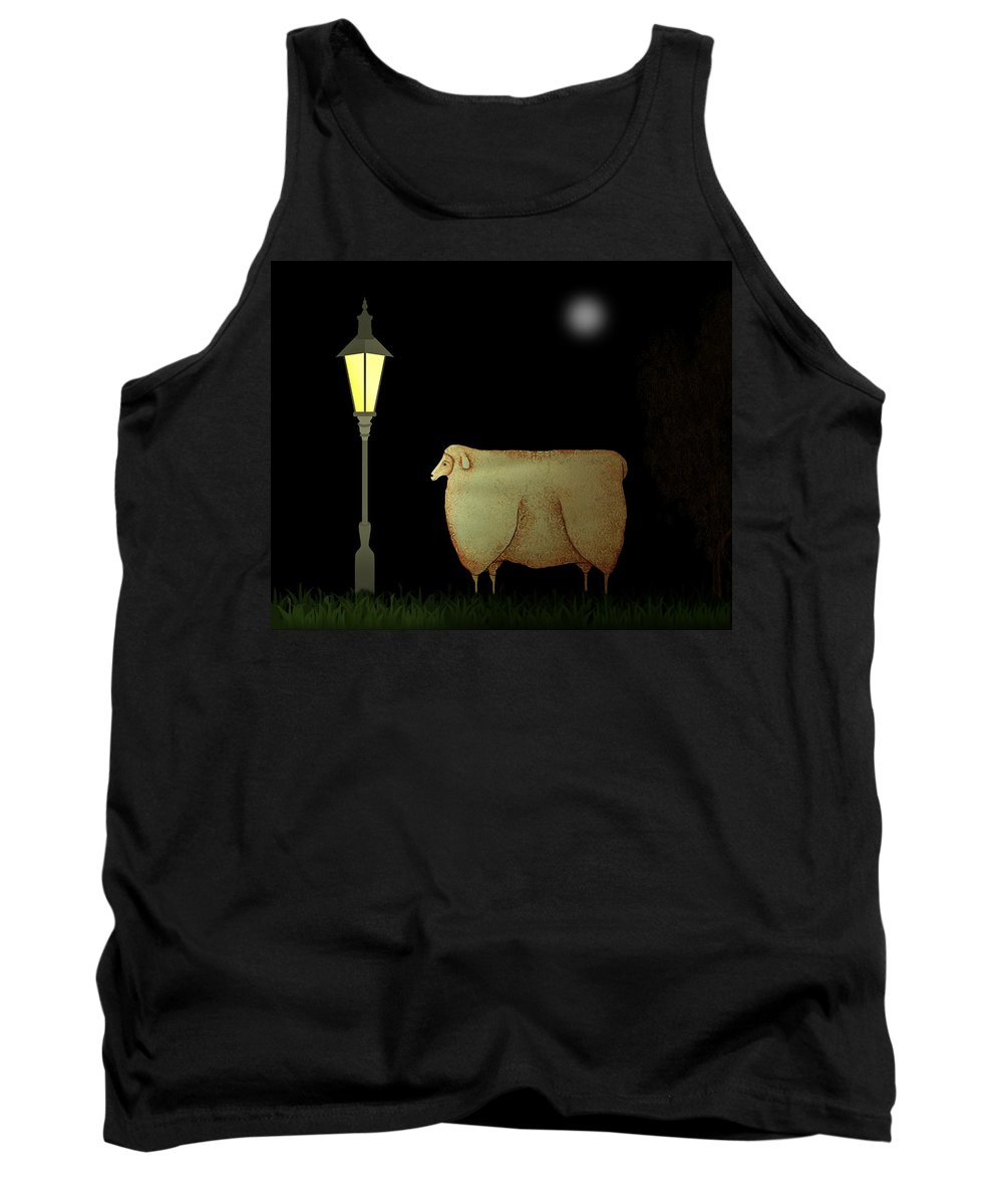 Sheep Tank Top featuring the painting Primitive Sheep Midnight Snack By Lamplight by Movie Poster Prints