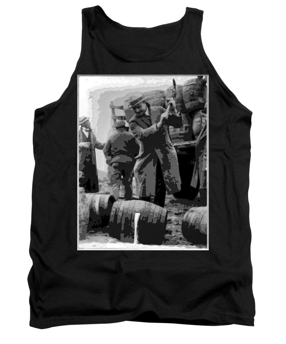 Prohibition Tank Top featuring the digital art Federal Prohibition Agents Destroy Liquor 1923 by Daniel Hagerman