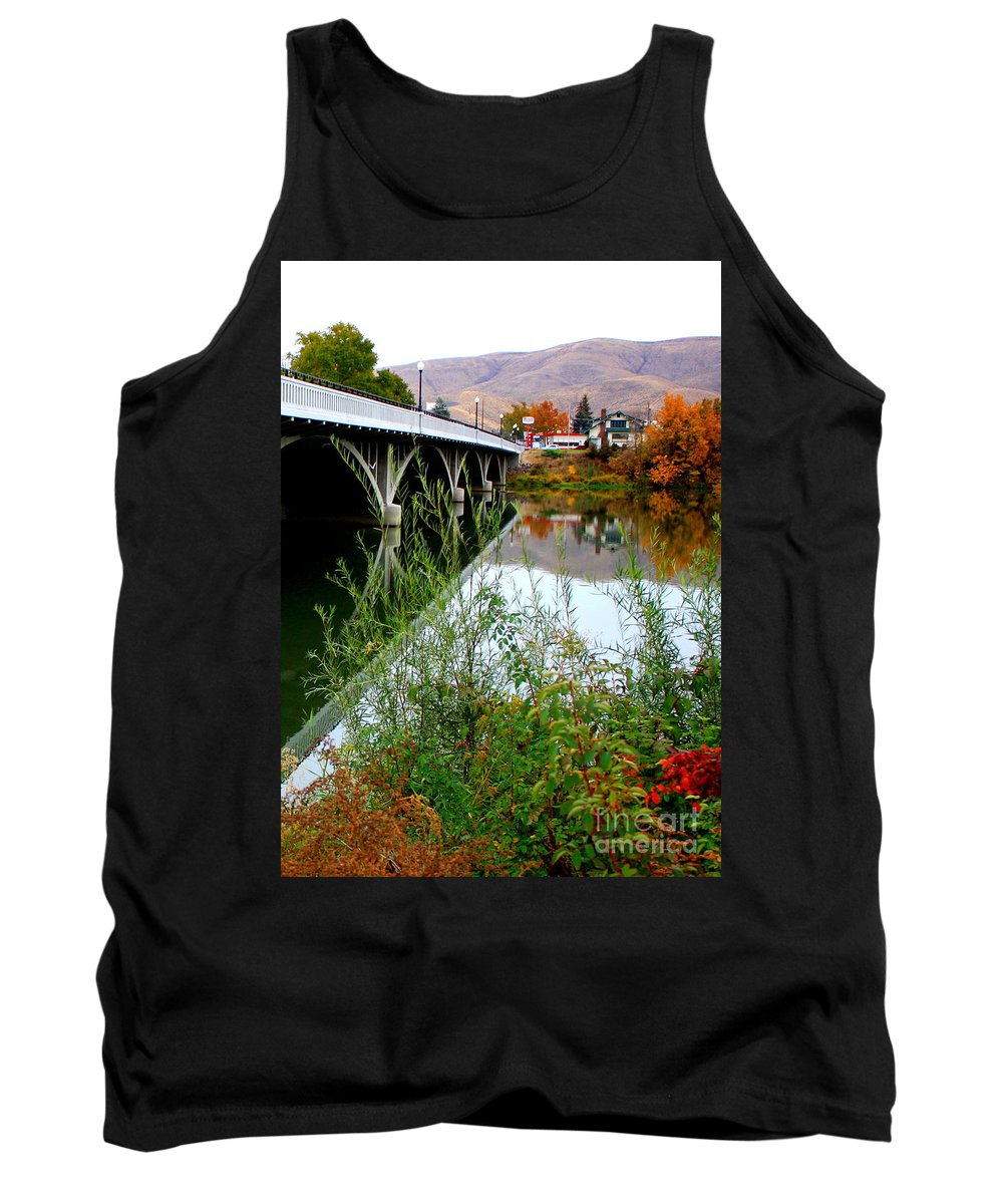 Prosser Tank Top featuring the photograph Prosser - Autumn Bridge Over The Yakima River by Carol Groenen