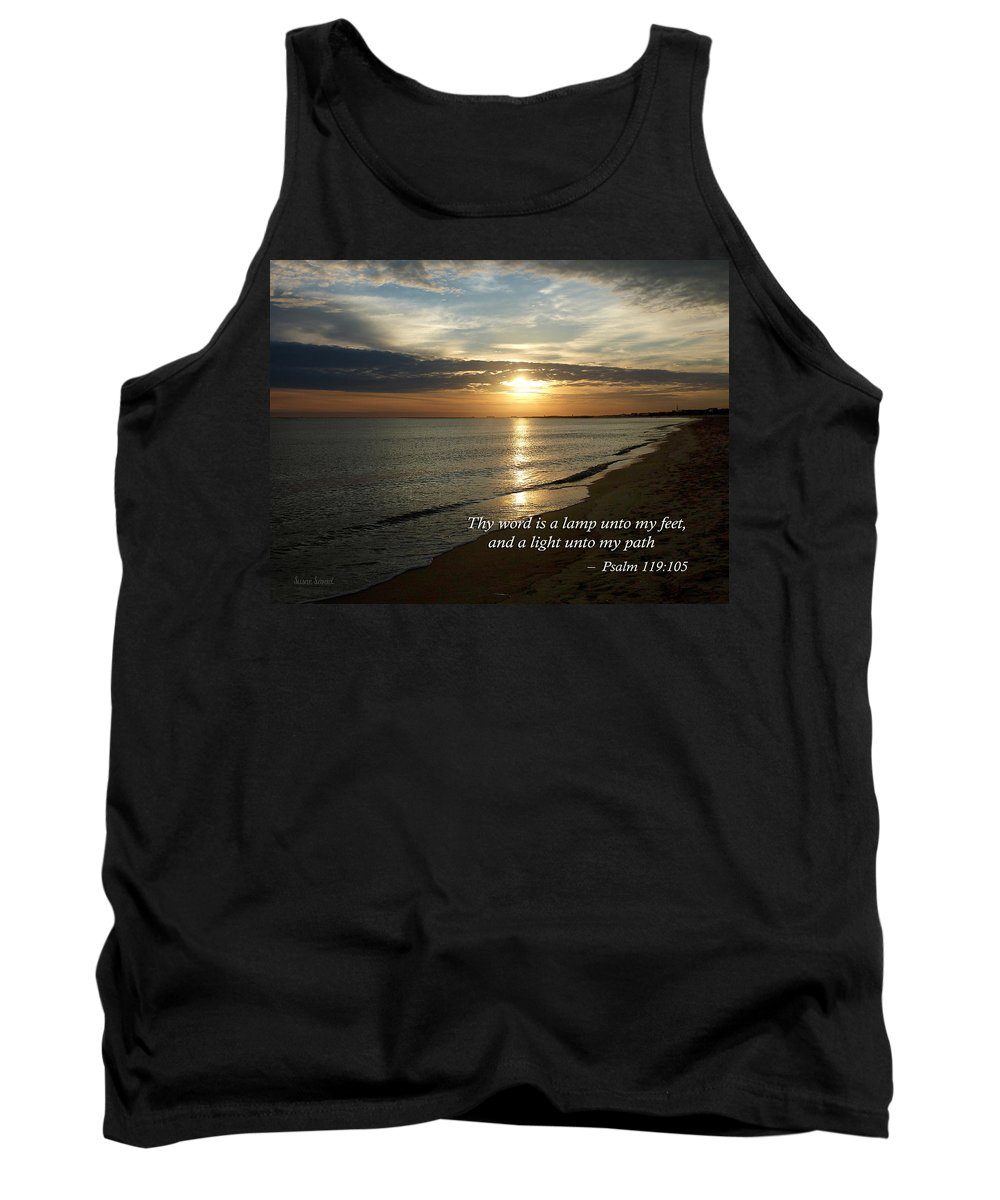 Religious Tank Top featuring the photograph Psalm 119-105 Your Word Is A Lamp by Susan Savad