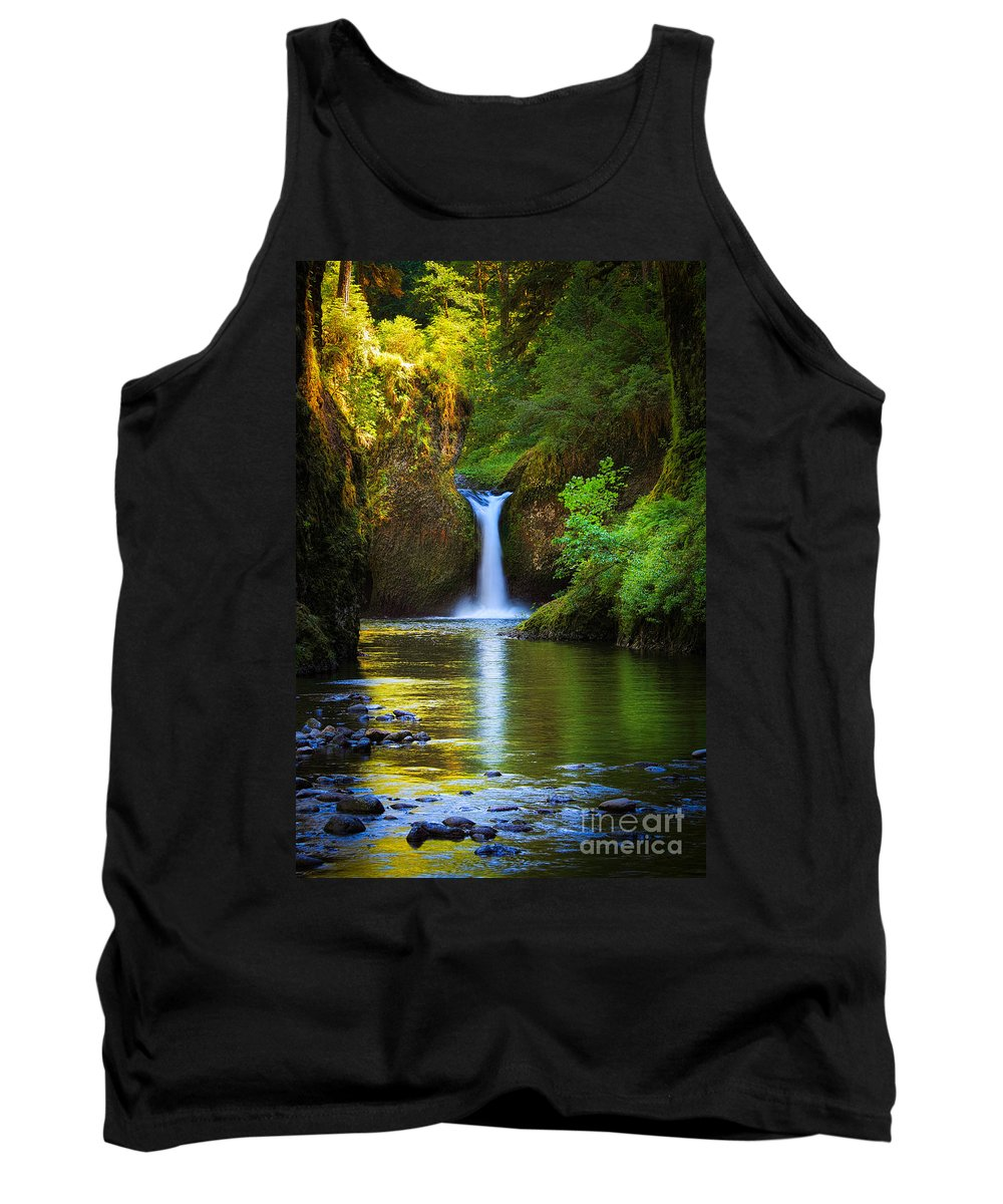America Tank Top featuring the photograph Punchbowl Falls by Inge Johnsson
